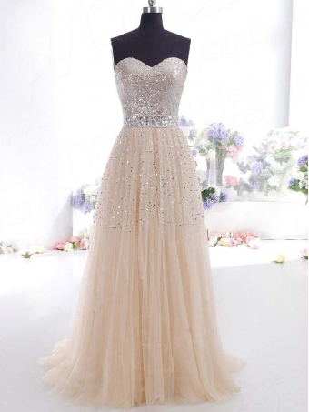 Gorgeous A-line Sweetheart Tulle Prom Dresses with Sequins [B0080] - $254.99 : 24inshop
