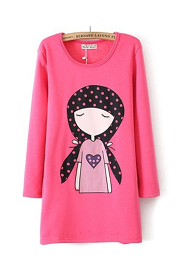 Beautiful Girl Pattern Long T-shirt [FCBI00372]- US$ 19.99 - PersunMall.com