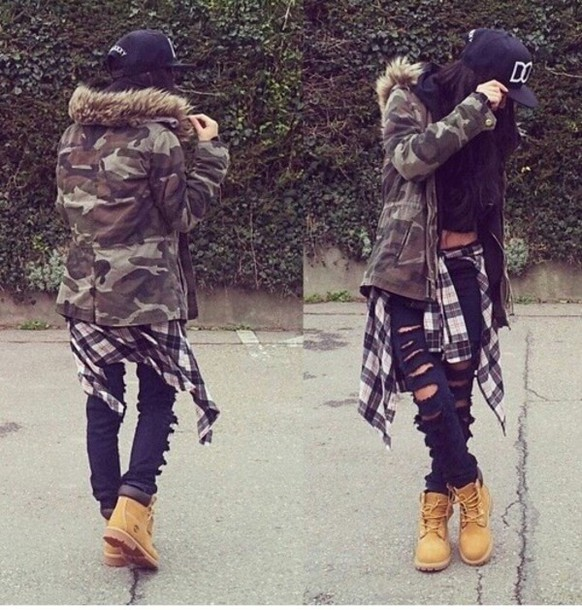 Jacket: military style, timberlands, yellow, jeans, black ...