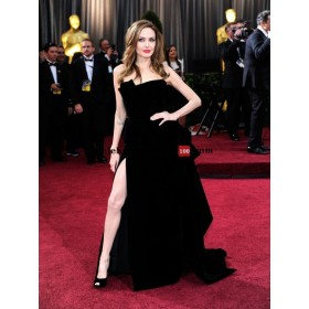 Angelina jolie strapless black velvet gown celebrity dresses replicas for sale oscars 2012