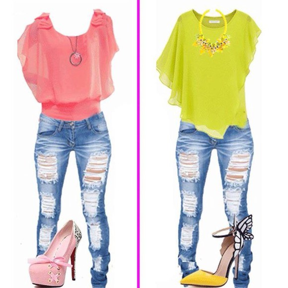 jeans blouse hot pink yellow high heels riped jeans outfits necklace