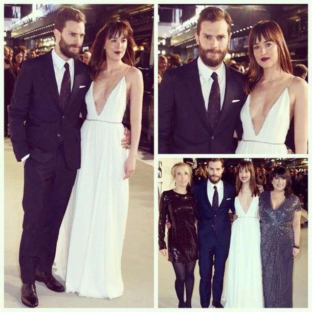 dress fifty shades of grey jamie dornan dakota johnson dress white dress