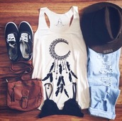 t-shirt,top,shirt,hippie shirt,dreamcatcher,white,tank top