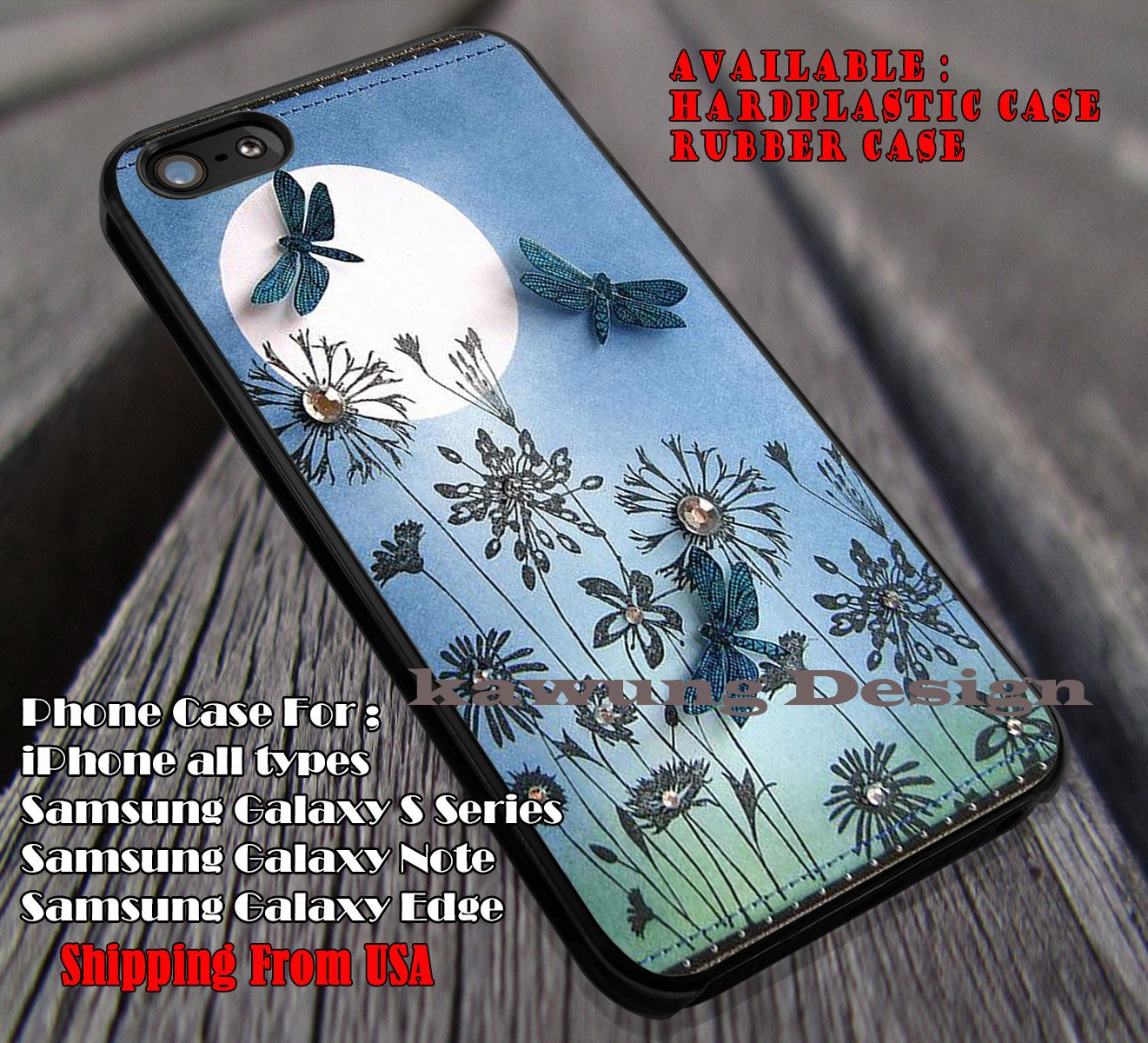 Dragonfly on Full Moon Park iPhone 7 7  6s 6 Cases Samsung Galaxy S8 S7 edge S6 S5 NOTE 5 4