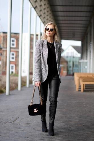 jacket blazer plaid plaid blazer pants black pants leather pants boots black boots