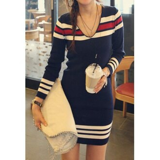 dress blue navy stripes long sleeves fashion style trendy casual trendsgal.com