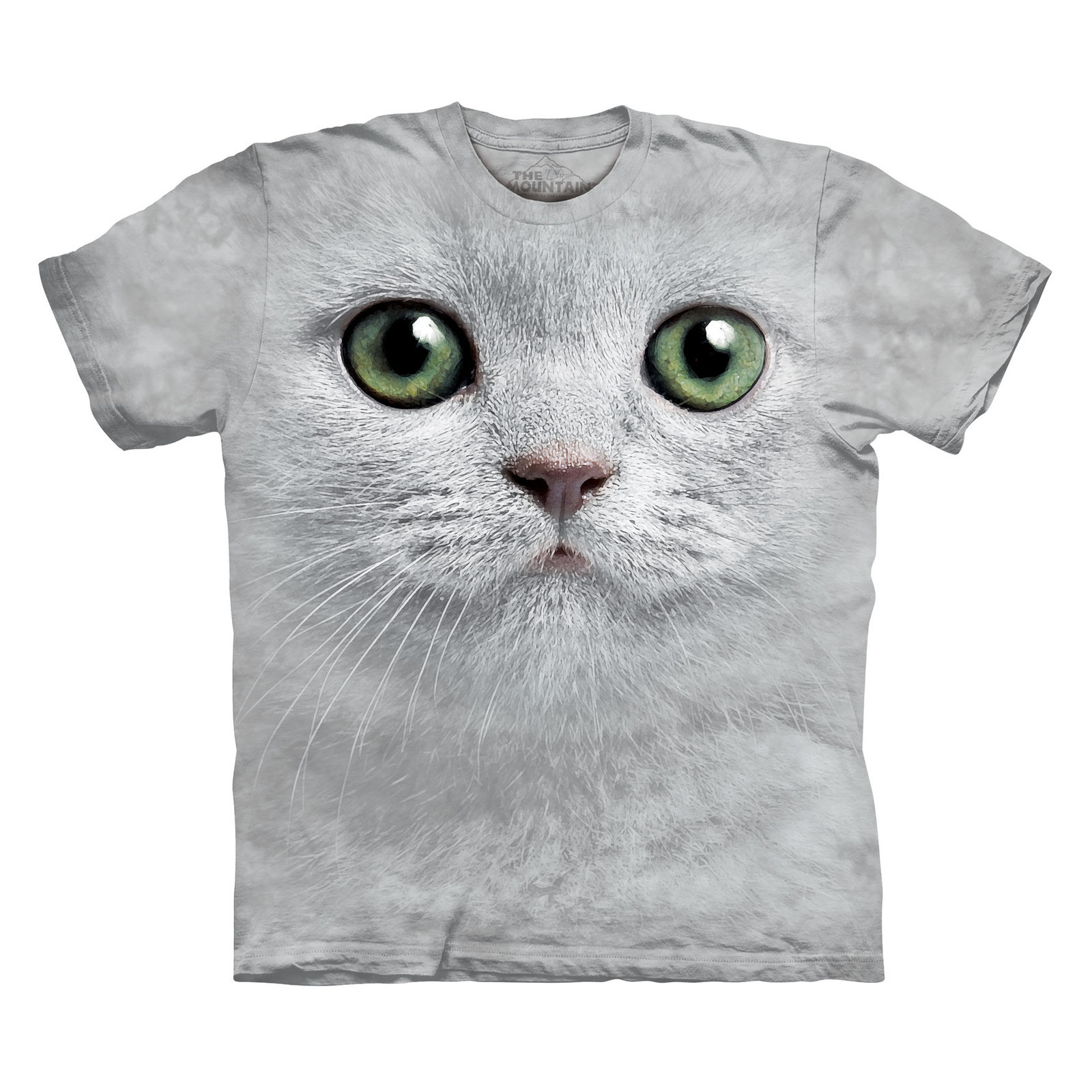 MOUNTAIN GREEN EYES FACE SIZE LARGE CUTE WHITE KITTY CAT KITTEN T