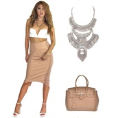 nude,nudes,nude skirt,midi skirt,pencil skirt,white crop tops,v neck,top,necklace,statement necklace,multi layered,bag,handbag,tote bag,classy,girly,sexy dress,outfit,fall outfits,party drsss,accessories,skirt