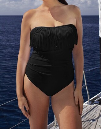 swimwear strapless fringes curvy bathing suit top one piece swimsuit black