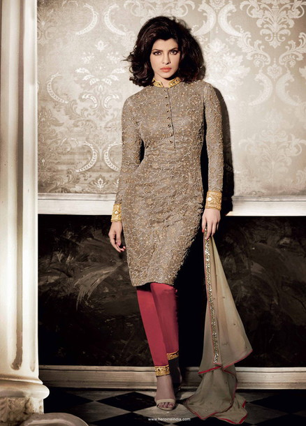 Dress Net Straight Cut Suit Staring Priyanka Chopra Salwar Suit