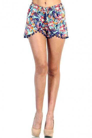 LoveMelrose.com From Harry & Molly   Fringe Overlap Floral Shorts - Blue