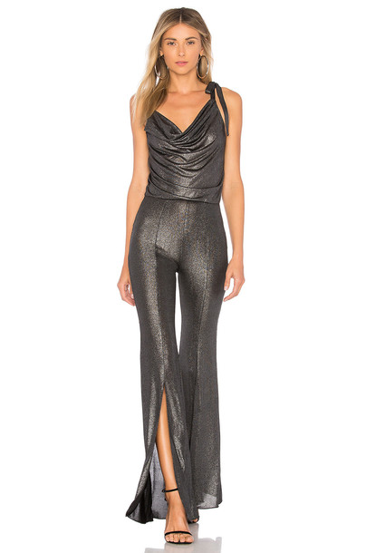 h:ours jumpsuit metallic silver