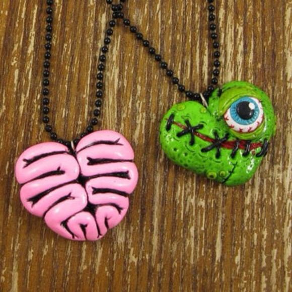 jewels heart zombie grunge necklace