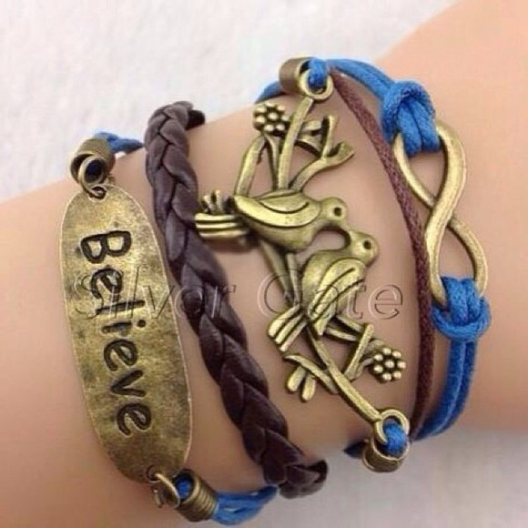 stacked bracelets stacked jewelry jewels bracelets peace sign anchor bracelet light blue navy blue