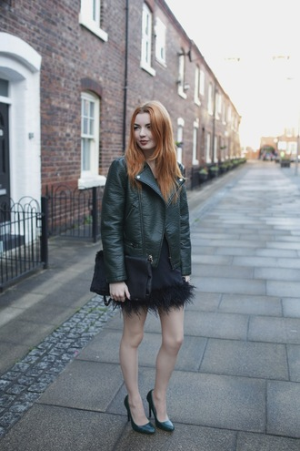 hannah louise fashion blogger skirt bag feathers leather jacket jacket top shoes