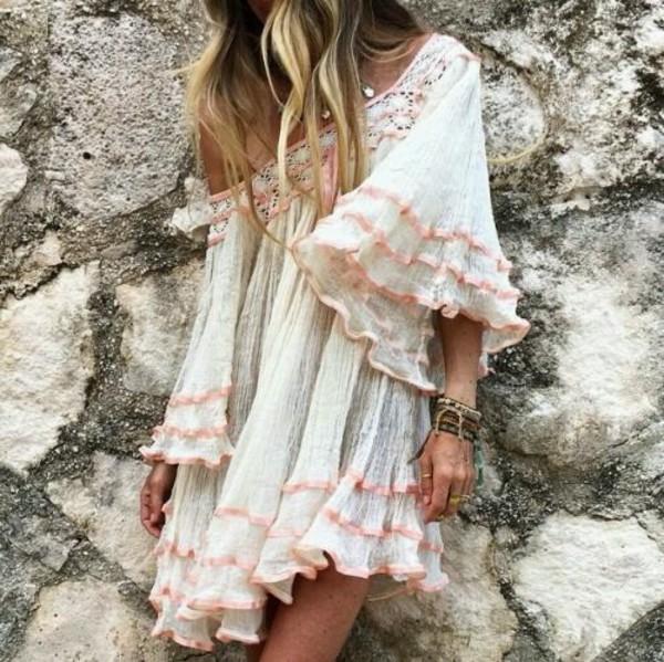 dress white white dress boho dress boho boho chic rose pink short ruffle wheretoget. Black Bedroom Furniture Sets. Home Design Ideas