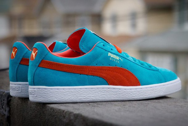 shoes suede pumas suede blue red