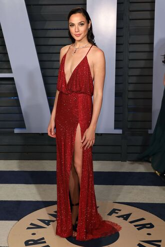 shoes sandals red dress red red prom dress red carpet dress gal gadot oscars 2018 plunge dress slit dress