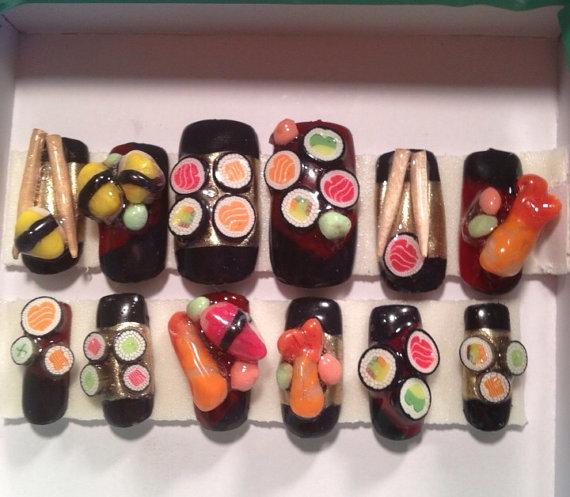Yummy 3d sushi nails falsefake nails japanese nail art super yummy 3d sushi nails falsefake nails japanese nail art polymer clay prinsesfo Image collections