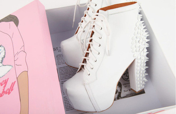 shoes spikes white kawaii pastel classy studs boots platform shoes vintage