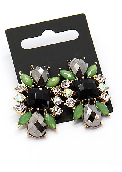 Green Black Gemstone Gold Earrings - Sheinside.com