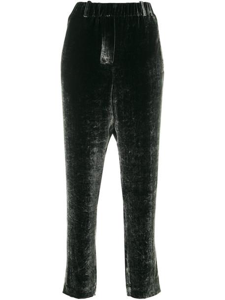 INCOTEX women classic silk velvet green pants