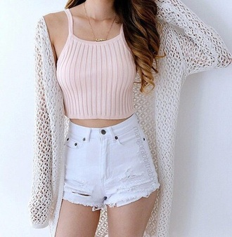 shirt blush pink crop tops halter top white shorts cardigan outfit summer outfits pink nude white
