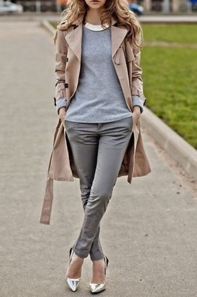 jeans trench coat coat shoes jewels