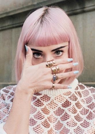 jewels pink hair nail polish pastel hair ring