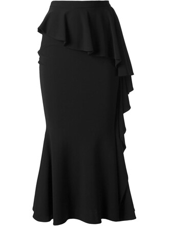skirt long women spandex black