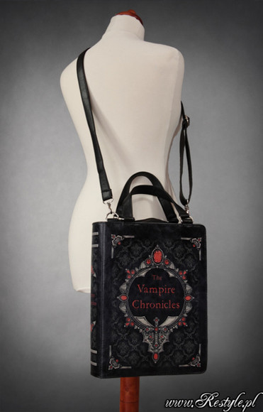 large bag big sack purse cross body vampire chronicles anne rice lestate de lioncourt louis queen of the damned interview with a vampire the vampire lestat dark literature poetry book novel cover goth punk cool halloween straps handles clips bookworm