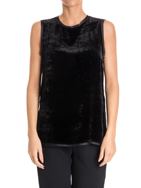Parosh Velvet Top in black