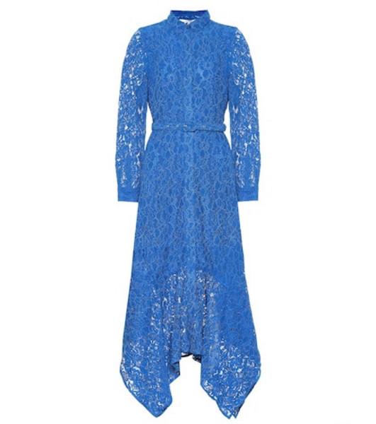Ganni Cotton-blend asymmetric lace dress in blue
