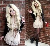 dress,beige dress,brown belt,white,mini dress,cream,blonde hair,lace dress,black leather jacket,cigarette,dark,goth,punk,punk rock,grunge,outfit,cute