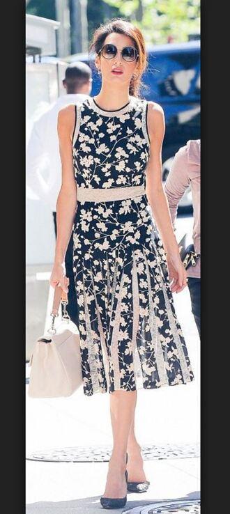 dress floral floral dress midi dress pleated amal clooney