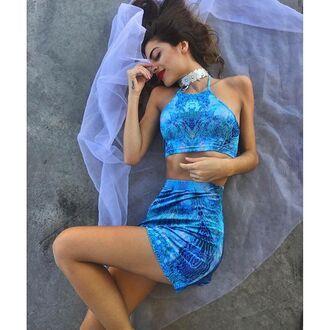 skirt liberated heart halter neck matching set set festival coachella psychedelic