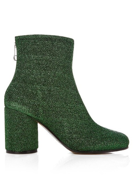 MAISON MARGIELA Lurex block-heel ankle boots in green