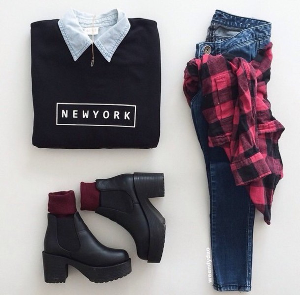 shirt shoes socks pants sweater jeans black chunky boots nyct clothing new york city graphic sweater sweatshirt plaid jeans ankle boots blouse dress black high waisted pants black sweater style fashion red red shirt platform shoes new york shoes black shoes black leather shirt new york dark blue jeans black and white new york shirt white grunge outfit