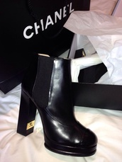 shoes,chanel,designer,international,boots,heel boots,black,high heeled boots,block heels,leather,gold details,double c,chic,ankle boots,heel