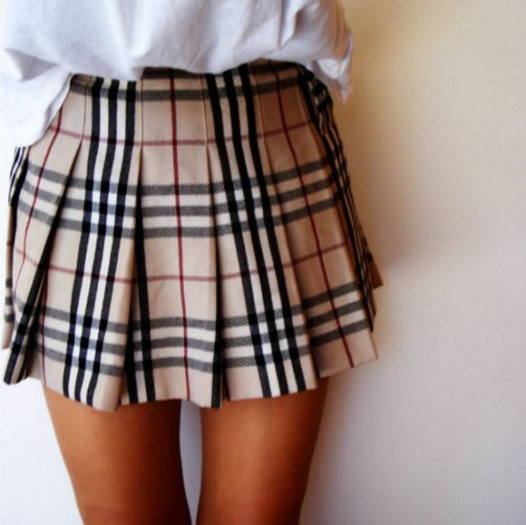 skirt flannel preppy spring fall outfits winter outfits seasons beige burberry fashion