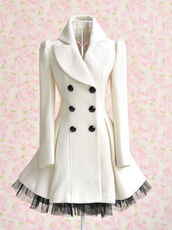 coat,clothes,lace,dress,jacket,trench coat,pea coat,white,black and white,net,winter outfits,pretty,cappotto,ginevra,bianco,dream shop,sneet,tulle skirt,white dress,double breasted button front,long sleeves,white coat,peplum,peacoat dress,underwear,white and black jacket,puffy coat,buttons,home accessory,cute,kawaii,jolie,déco,mignon,rose,girly,choux,petit,fashion,mode,beautiful,shirt,watermelon shirt,watermelon print