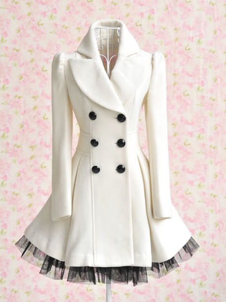 coat clothes lace dress jacket trench coat pea coat white black and white net winter outfits pretty cappotto ginevra bianco dream shop sneet tulle skirt white dress double breasted button front long sleeves white coat peplum peacoat dress underwear white and black jacket puffy coat buttons home accessory cute kawaii jolie déco mignon rose girly choux petit fashion mode beautiful shirt watermelon shirt watermelon print