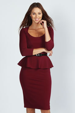 Kendal Long Sleeve Belted Peplum Midi Dress at boohoo.com