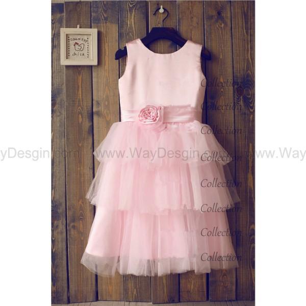 pink cupcake tulle flower girl dress flower girl dress