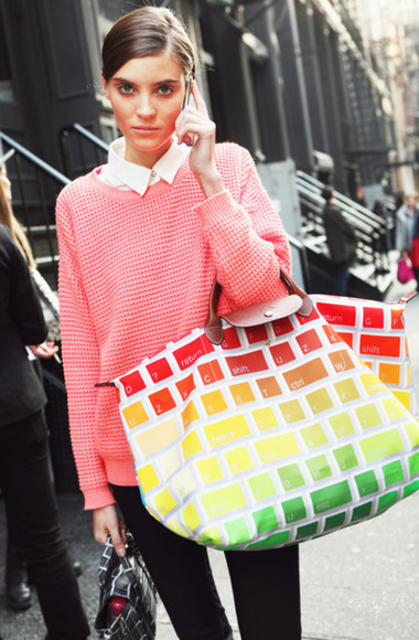 bag longchamp red yellow green streetstyle