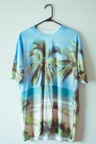 shirt beach bag t-shirt graphic tee ocean hipster waves tumblr island island shirt beach shirt sand water palm tree print oversized t-shirt hawaiian