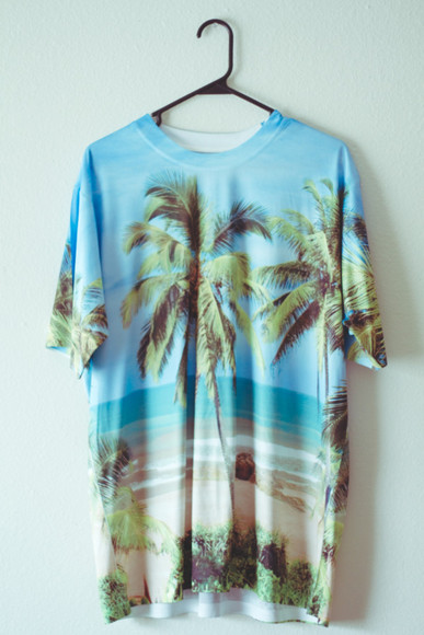 ocean t-shirt tumblr waves hipster style hipsters shirt beach bag graphic tee island island shirt beach shirt sand water tshirt palm trees baggy tshirt hawaii palm tree print palm tree shirt