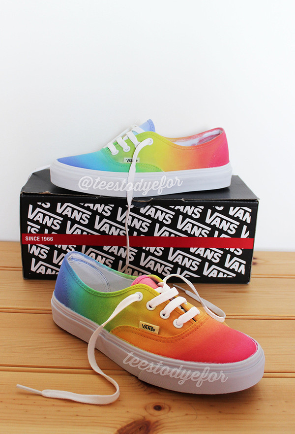 shoes vans tie dye tie dye vans fashion summer shoes skate shoes tie dye shoes vans sneakers vans of the wall colorful clothes teestodyefor cute cute vans rainbow custom vans