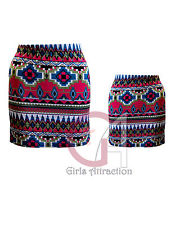J23 Bodycon Mini Skirt Womens Multi Color Aztec Print Elasticated | eBay