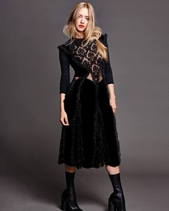 dress midi dress amanda seyfried editorial lace dress see through dress boots velvet dress black dress shoes our favorite dresses 2015